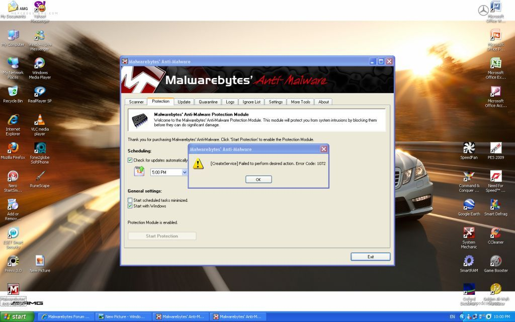 Malwarebytes web protection won t start